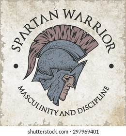 Symbol Spartan, Greek, warrior, a soldier in the traditional helmet on his head. Emblem, logo vintage style.