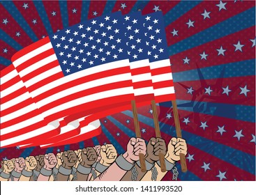 symbol of the struggle for liberation from slavery. protests against slavery. the requirement of freedom. us flag poster.