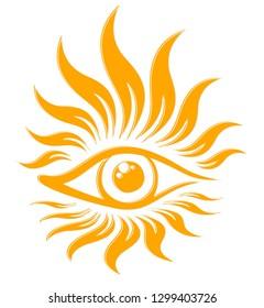 Symbol of sun with eye.