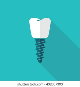 The symbol of tooth restoration. A dental implant