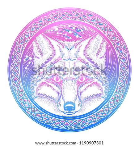 6c3dc6259 Symbol of a travel, freedom, tourism. Fox against the background of  Universe tattoo art. Ethnic style t-shirt design - Vector