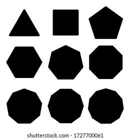 Symbol triangle, rectangle, pentagon, hexagon, hexagon, octagon. Design template vector