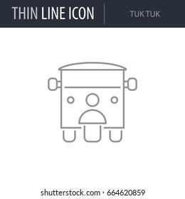 Symbol of Tuk Tuk. Thin line Icon of Transportation. Stroke Pictogram Graphic for Web Design. Quality Outline Vector Symbol Concept. Premium Mono Linear Beautiful Plain Laconic Logo