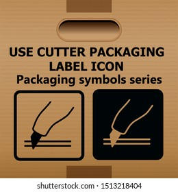 symbol Use cutter packaging label icon on a corrugated cardboard box.For use on cardboard boxes, packages and parcels. Vector illustration