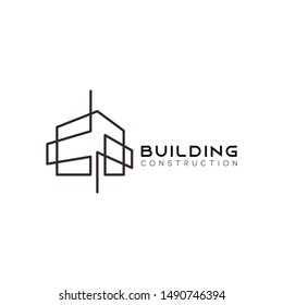 Symbol vector of building and property logo template with creative lineart icon. Real estate architeture design minimalist illustration for agency and company.