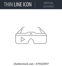Symbol of Virtual Glasses Thin line Icon of Future Technology. Stroke Pictogram Graphic for Web Design. Quality Outline Vector Symbol Concept. Premium Mono Linear Beautiful Plain Laconic Logo.