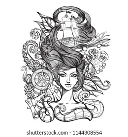 The symbol of water. Fantastic woman with hair in the form of sea waves surrounded by an octopus. Element. Goddess of water. Sketch for tattoo.