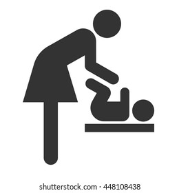 Symbol for woman and baby, toilet room for mothers with kids. Mother and child icon.