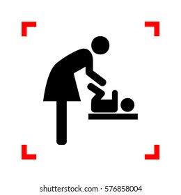 Symbol for women and baby, baby changing. Black icon in focus corners on white background. Isolated.