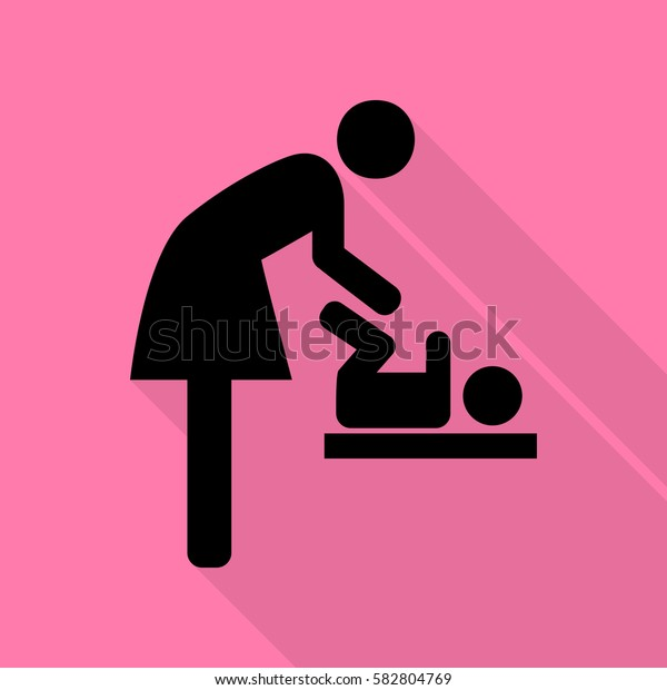 Symbol for women and baby, baby changing. Black icon with flat style shadow path on pink background.