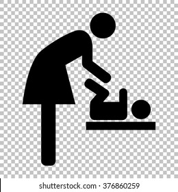 Symbol for women and baby, baby changing.  Flat style icon on transparent background