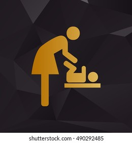 Symbol for women and baby, baby changing. Golden style on background with polygons.