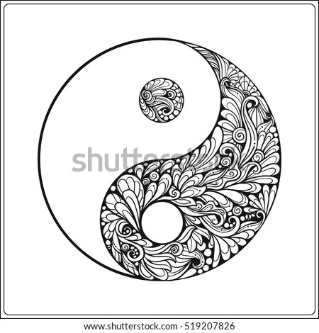 Symbol Yin Yang Gold On Black Stock Vector Royalty Free 519207826