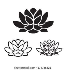 the symbol of yoga lotus flower graphic vector illustration