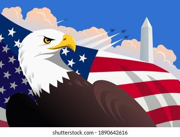 Symbolische amerikanische patriotische Illustration mit dem Glatadler, der US-Flagge, dem Washington Monument und Militärflugzeugen, die am Himmel mit Cumulus-Wolken fliegen