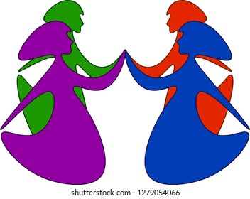 Symbolic deactivation of the national day of colored women. Women hold hands. White background. The picture is suitable for international women's day. Female solidarity. Feminism.
