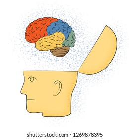 Symbolic drawing of the head with the brain