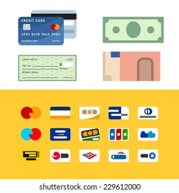 Symbolic geometric stylization of payment methods, credit card, dollar and euro banknotes