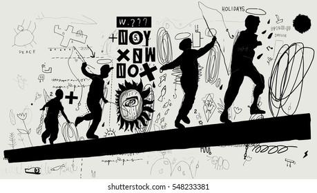 Symbolic image of boys that run on a log