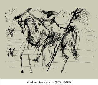 Symbolic image of Don Quixote and his horse