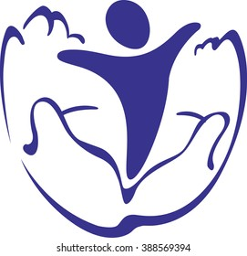 Symbolic image of of a hands holding a baby - Logo or Icon template on theme care and motherhood.