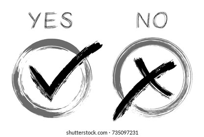 Symbolic OK and X approval icons, black in grey circle boxes, tick and cross signs, check marks design. YES and NO approve and reject options, vector  decision making, choice signs.