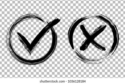 Symbolic OK and X icons in round frames, black on transparent. Cross and tick signs, check marks graphic design. NO and YES rejected and approved symbol vector buttons for vote, election choice.