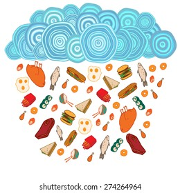 Symbolic picture of rain of food with hand drawn elements. Vector illustration