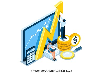 Symbolic Revenues, Returns Symbol. Concept of Earnings Growth, Stock Dividend Yield Curve, Analysis of Results. Vector illustration, graphic design for flat web banners.