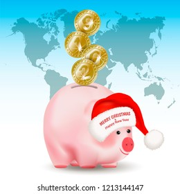 Symbolic shiny metal golden coins with numbers 2019 falling into money pig bank. Santa Claus hat with greetings. Conceptual realistic vector illustration on background with world map