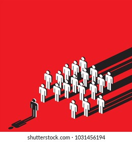 symbolic of social pressure with stick human on red background, creative vector illustration.