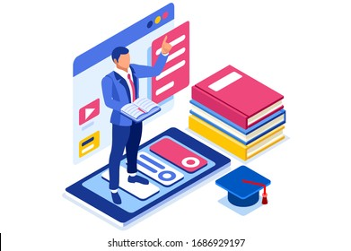 Symbolic student education, courses symbol. Conceptual graphic of distance tutorials, studying course for university students concept. Vector illustration banner. Study Courses training tutorial sign.