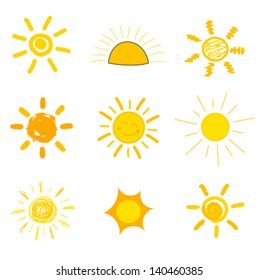 Symbolic sun icons. Child's style of drawing. Vector illustration