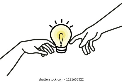 The Symbolic Vector of Collaboration Thinking. Michelangelo's God Creating Adam-Inspired. Hands touching light bulb.