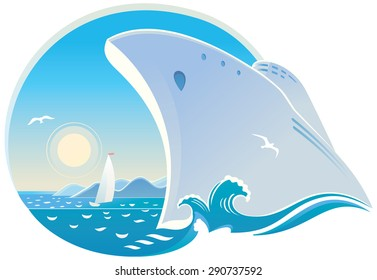 Symbolic vector illustration of dedicated to cruise, seaside holiday, and travel.