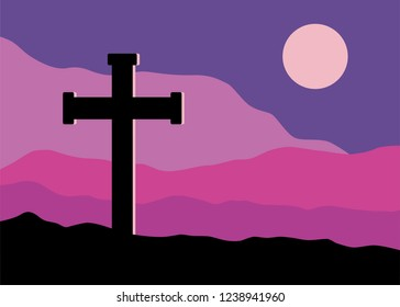 A symbolic view of the Crucifix on the Golgotha mountains with the moon in the sky