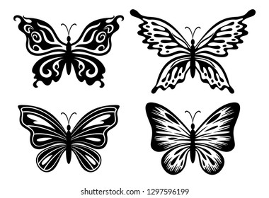 Symbolical Butterflies Pictograms, Black Contours Isolated on White Background. Vector
