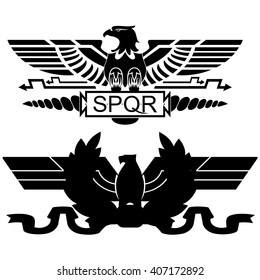 The symbolism of the ancient Roman legions. The illustration on a white background.