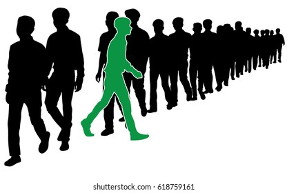 """The symbolism for, """"Step out from the Crowd, Be an Innovator!"""", Full length of silhouette people walking in line, green man standing out in a line of black man"""