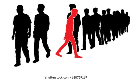 """The symbolism for, """"Step out from the Crowd, Be an Innovator!"""", Full length of silhouette people walking in line, red man standing out in a line of black man"""