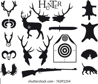 Symbolism to the theme Hunting, for design works, vector.