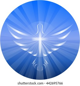 Symbolized vector illustration of a dove and cross representing God's Holy Spirit, on a blue circle background with rays of light.