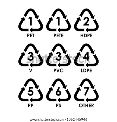 Symbology Type Plastic Materials Vector Stock Vector Royalty Free