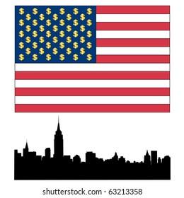 Symbols of America on a white background