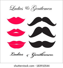 Symbols for bathrooms - Ladies & Gentlemen (the lips and moustache)