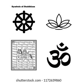 Symbols of Buddhism: the lotus, the wheel of dharma, lungta and the sign of Om. Isolated vector on white background