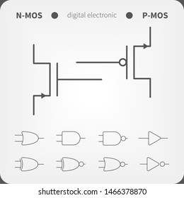 Symbols for building blocks of logic gates. N-MOS and P-MOS transistor schematic symbols.