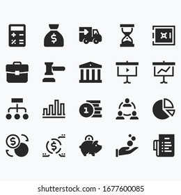 symbols of business vector icons set.money, time, delivery, target, discussion, service, exchange of goods, savings, static, rank, percentage, safe