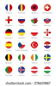 Symbols Buttons of the participating countries to the final soccer tournament of Euro 2016 in france