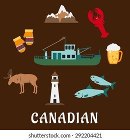 Symbols of Canada in flat style with rocky mountains, lighthouse, elk, mittens, beer tankard, lobster, fish and fishing trawler